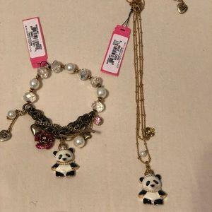 Betsy Johnson Panda necklace and bracelet set!